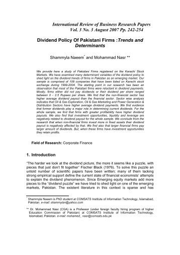 Determinant of dividend policy