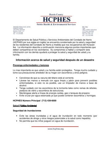 Información acerca de salud y seguridad después de un desastre
