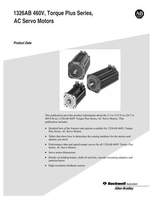 1326AB 460V, Torque Plus Series, AC Servo Motors