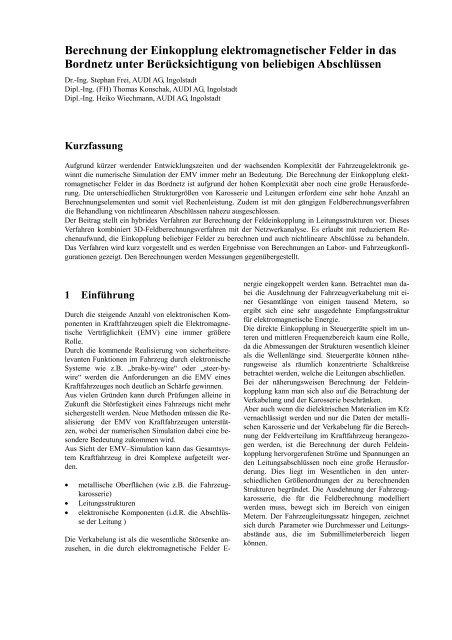 Berechnung der Einkopplung elektromagnetischer Felder in das ...