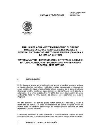 NMX-AA-073-SCFI-2001 ANÁLISIS DE AGUA ... - CONAGUA