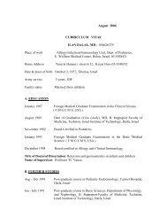 August 2006 CURRICULUM VITAE ILAN DALAL, MD ; 054626379 ...