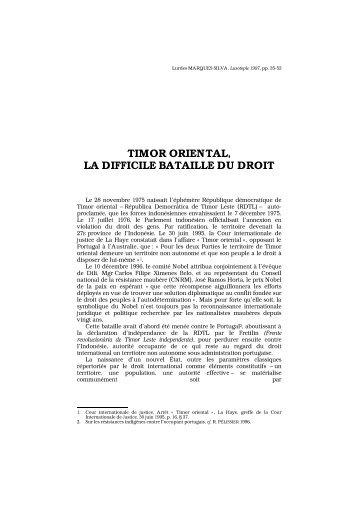 TIMOR ORIENTAL, LA DIFFICILE BATAILLE DU DROIT - Lusotopie