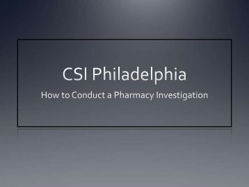 How to Conduct a Pharmacy Investigation