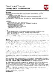 Weisungen Schauen - Zuchtverband CH Sportpferde