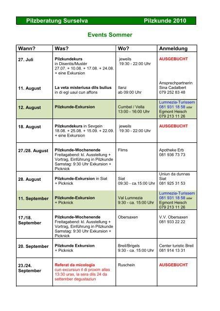 Events / Kurse Sommer 2010 - Kreis Ilanz