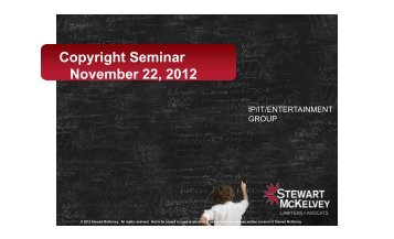 Copyright Seminar November 22, 2012 - Stewart McKelvey