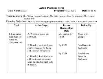 Sample Action Planning Form