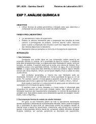 EXP 7. ANÁLISE QUÍMICA II