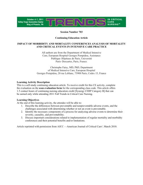 impact of morbidity and mortality conferences analysis of