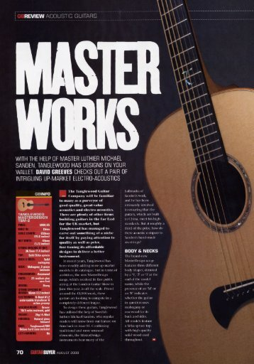 with the help of master luthier michael - Tanglewood Guitars