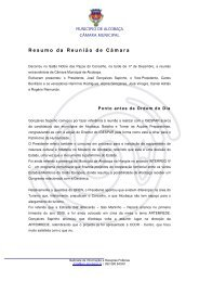 Resumo da Reunião de Câmara - Município de Alcobaça
