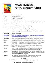 AUSSCHREIBUNG PATROUILLENRITT 2013 - Reitkalender