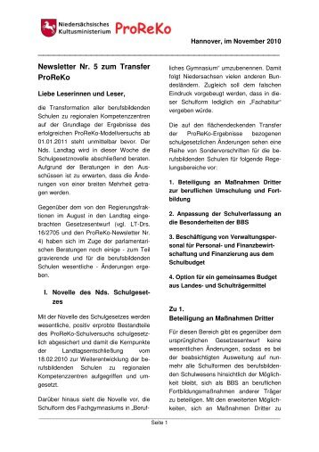 Newsletter Nr. 5 ProReKo Transfer - BBS-Holzminden