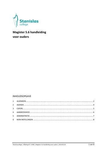 Magister 5.6 handleiding voor ouders - Stanislas College