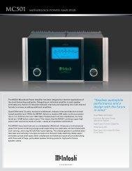 McIntosh MC01 Brochure PDF - Dr Hi-Fi House Calls