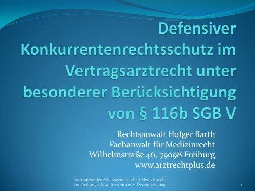 Folien zum Vortrag vom 8.12.2009 - Rechtsanwalt Holger Barth