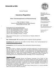Insurance Regulation - Seminar für ABWL, Risikomanagement und ...