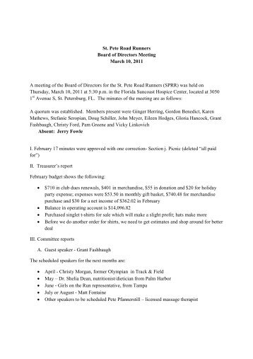 St. Pete Road Runners Board of Directors Meeting March 10, 2011 ...