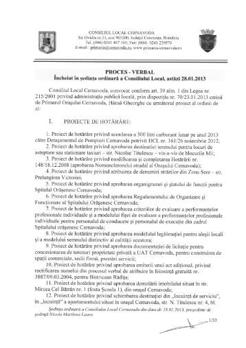 proces verbal sedinta din data 28.01.2013 - Primaria Cernavoda