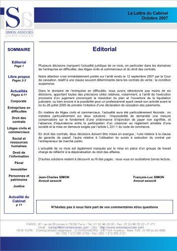 Actualité du Cabinet - Simon Associés