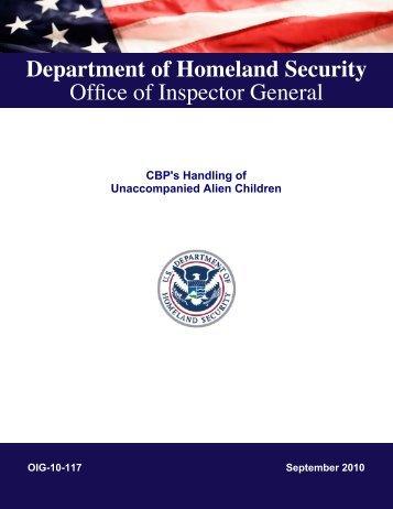 CBP's Handling of Unaccompanied Children - Office of Inspector ...