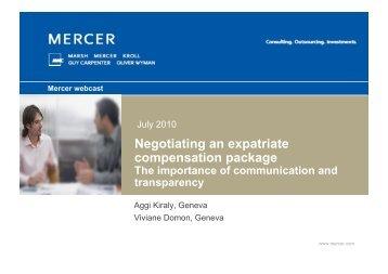 Negotiating an expatriate compensation package - iMercer.com