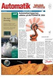 Automatiseringsprisen uddeles på AUTOMATIK ... - Teknik og Viden
