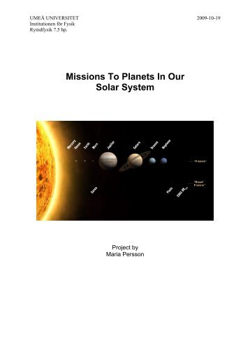 Missions to Planets in our Solar System - Umeå universitet