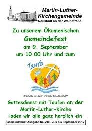 Sonntag, 23. September 2012 9:30 Uhr - Evangelische Kirche der ...