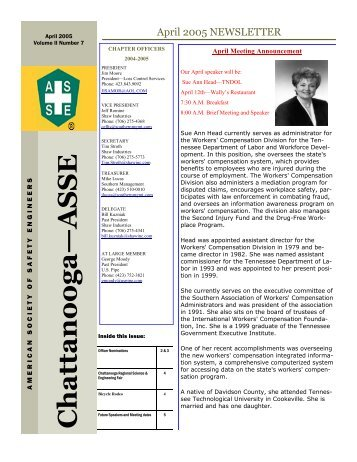 April 2005 ASSE Newsletter - Chattanooga Area Chapter - American ...