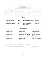 Curriculum Vitae - College of Human Sciences - Auburn University