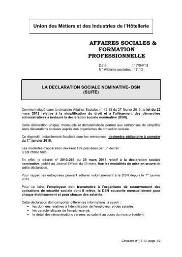 AFFAIRES SOCIALES & FORMATION PROFESSIONNELLE
