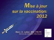 Mise à jour sur la vaccination: 2012 - CHU Sainte-Justine - SAAC