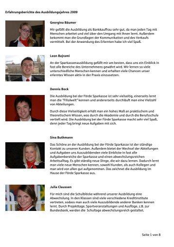 Erfahrungsbericht 2011 Inkl Bilder   Förde Sparkasse