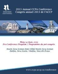 Pre-Conference Sessions / Séances du pré-congrès - CCPA-ACCP