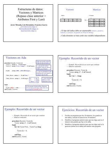 Tema 7: Estructuras de datos: Repaso parte 1 + atributos 'First y 'Last