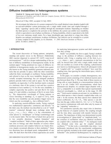 Diffusive instabilities in heterogeneous systems - Epstein Group ...
