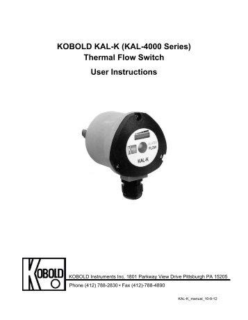 KOBOLD KAL-K (KAL-4000 Series) Thermal Flow Switch User ...