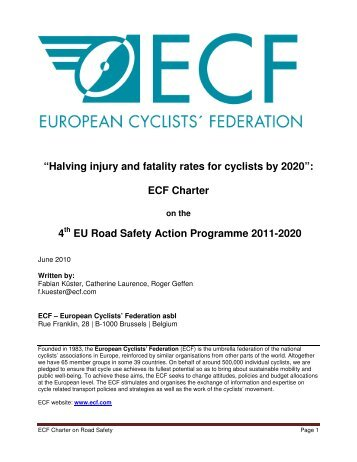 """Halving injury and fatality rates for cyclists by 2020"": ECF Charter 4 ..."