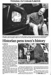 Tuning in Cedar Grove: Historian pens town's history