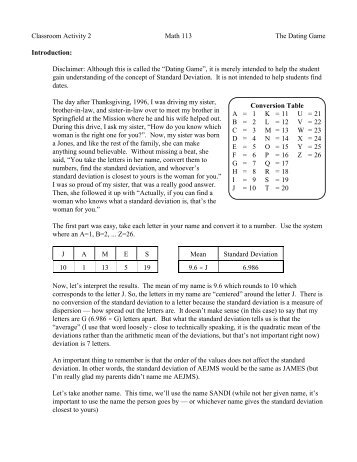 Conversion Table A = 1 B = 2 C = 3 D = 4 E = 5 F = 6 G = 7 H = 8 I ...