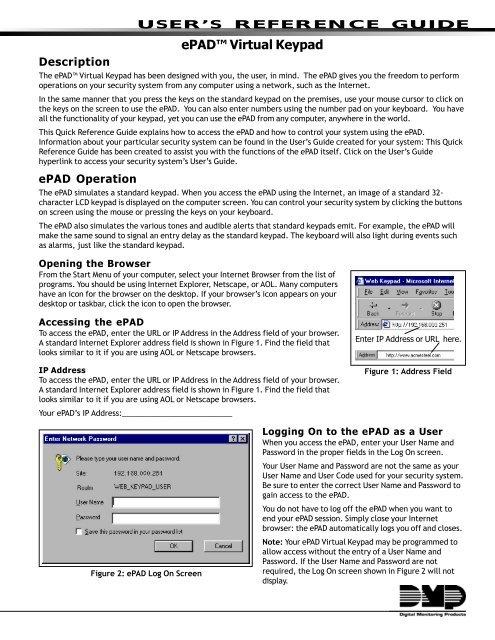 "ePADâ""¢ Virtual Keypad - Mountain Alarm"