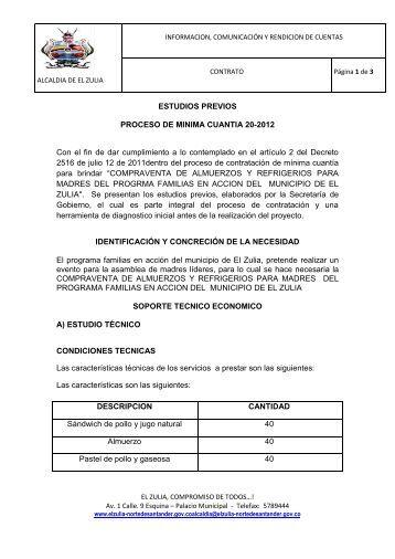ESTUDIOS PREVIOS PROCESO DE MINIMA CUANTIA 20 ... - El Zulia