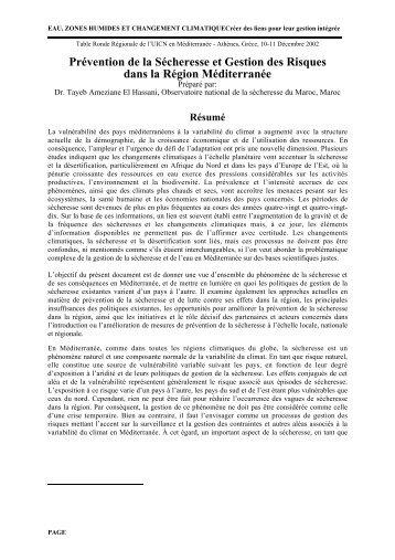 Prévention de la Sécheresse et Gestion des Risques dans la ...