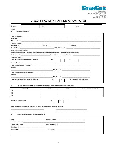 Credit Facility Application Form Stoncor Africa