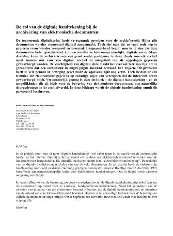 De rol van de digitale handtekening bij de archivering van ...