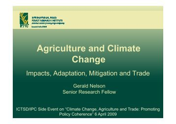 Agriculture and Climate Agriculture and Climate Change - Side Events