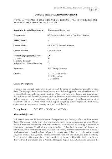CSD FNN 5200 Corporate Finance - Richmond - The American ...
