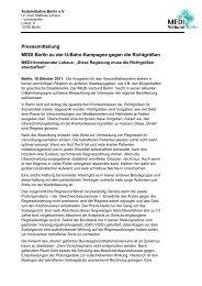 Pressemitteilung MEDI Berlin zu der U-Bahn-Kampagne gegen die ...